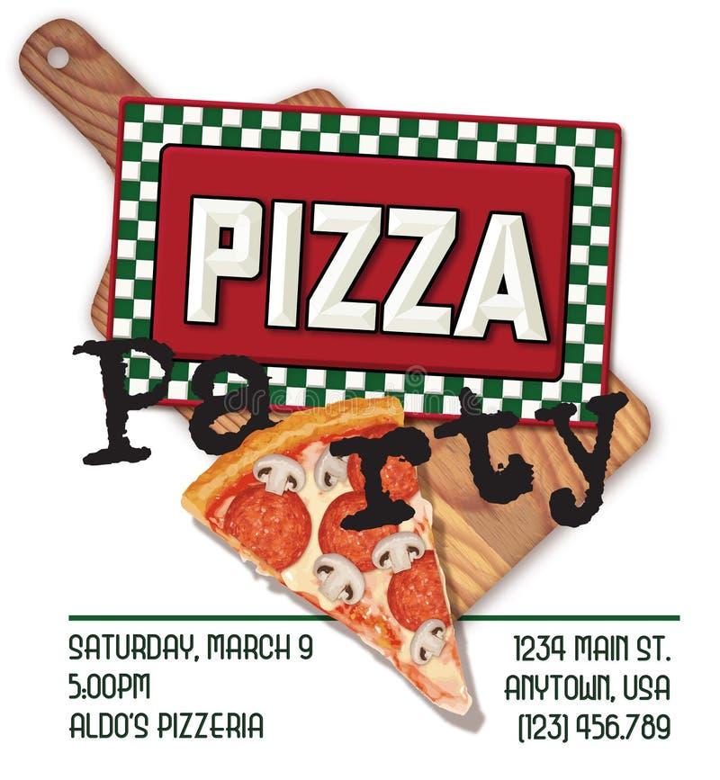 De Uitnodigingspret van de pizzapartij royalty-vrije illustratie