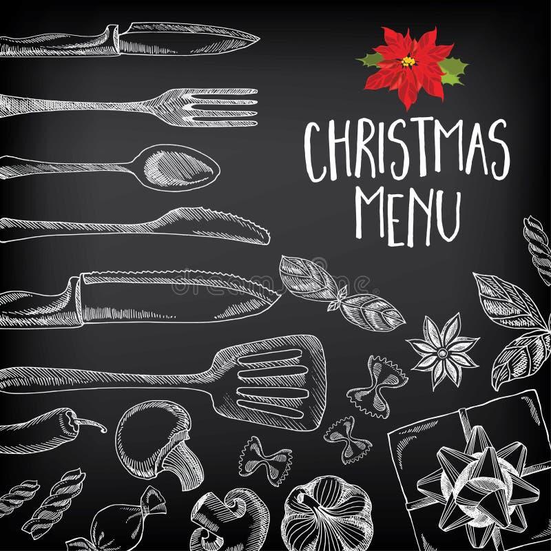 De uitnodigingsrestaurant van de Kerstmispartij Voedselvlieger stock illustratie