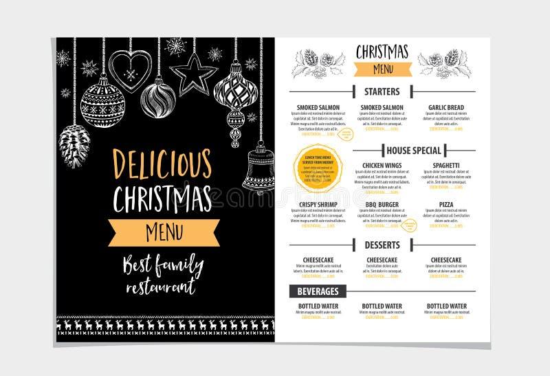 De uitnodigingsrestaurant van de Kerstmispartij Voedselvlieger royalty-vrije illustratie
