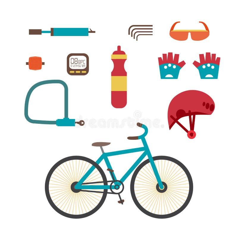 De uitrusting van de bergfiets Vastgestelde berijdende die fietsen op witte achtergrond worden geïsoleerd vector illustratie