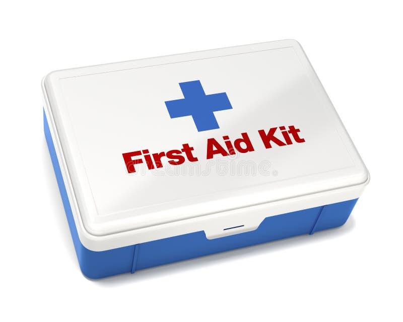 De Uitrusting van de eerste hulp die op Wit wordt geïsoleerda stock illustratie