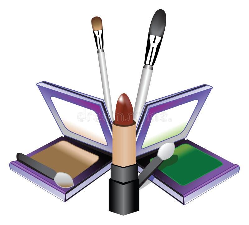 De Uitrusting van de make-up met Borstels royalty-vrije illustratie