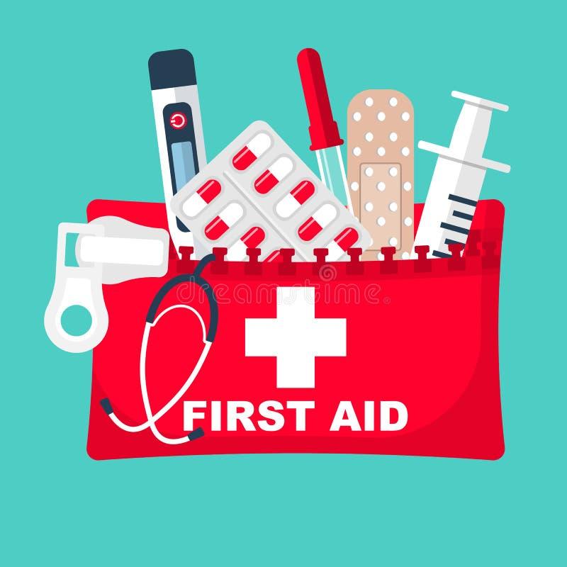 De uitrusting van de eerste hulp Medische apparatuur en medicijnen royalty-vrije illustratie