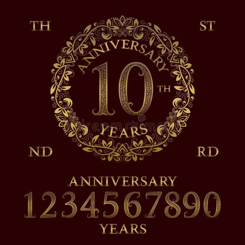 De uitrusting van het verjaardagsteken Gouden aantallen, kader en sommige woorden vector illustratie