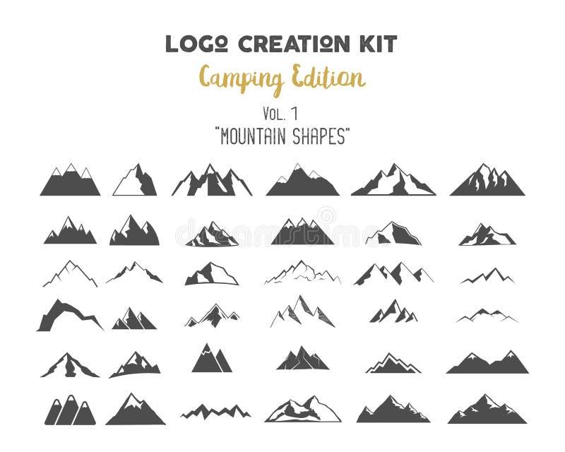 De uitrustingsbundel van de embleemverwezenlijking Het kamperen Uitgavenreeks Leiden de de berg vectorvormen en elementen tot uw  stock afbeelding