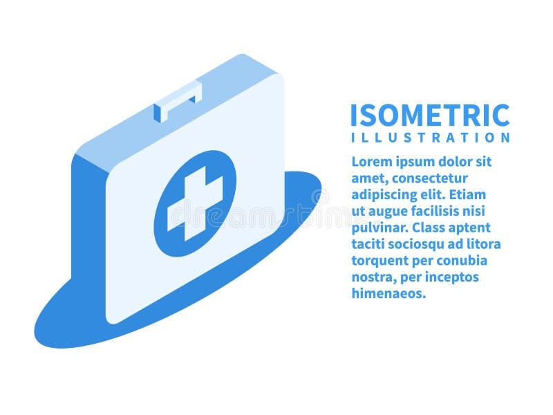 De uitrustingspictogram van de eerste hulp Isometrisch malplaatje in vlakke 3D stijl Vector illustratie stock illustratie