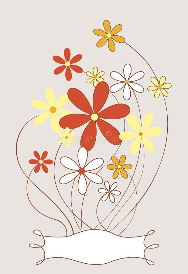 De uitstekend-oranje bloem van de rooster A & etikettekening royalty-vrije stock foto
