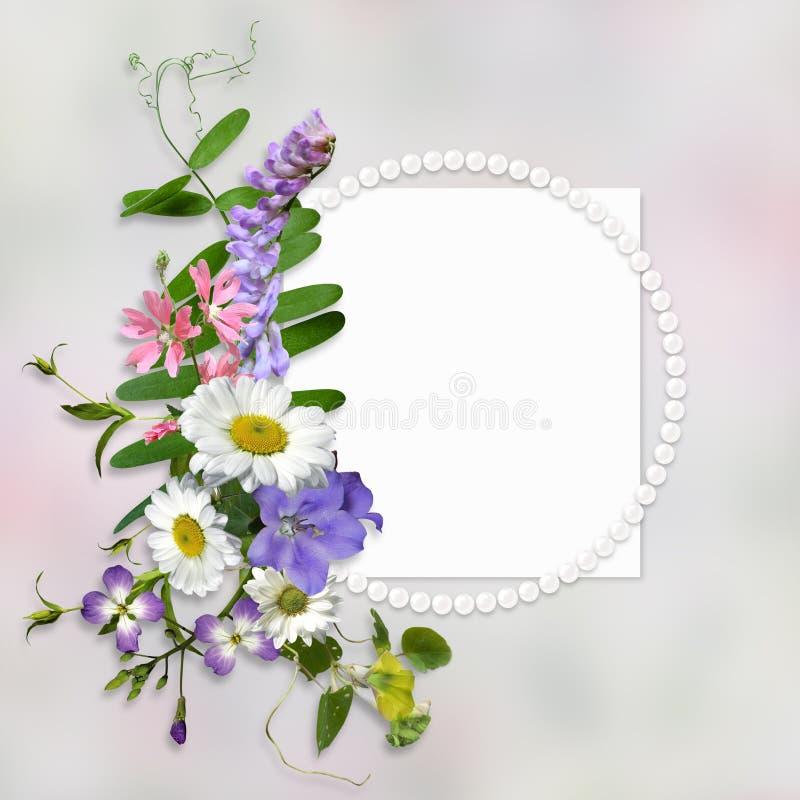 De uitstekende achtergrond met kader voor foto of tekst en een boeket van de zomerweide bloeit vector illustratie