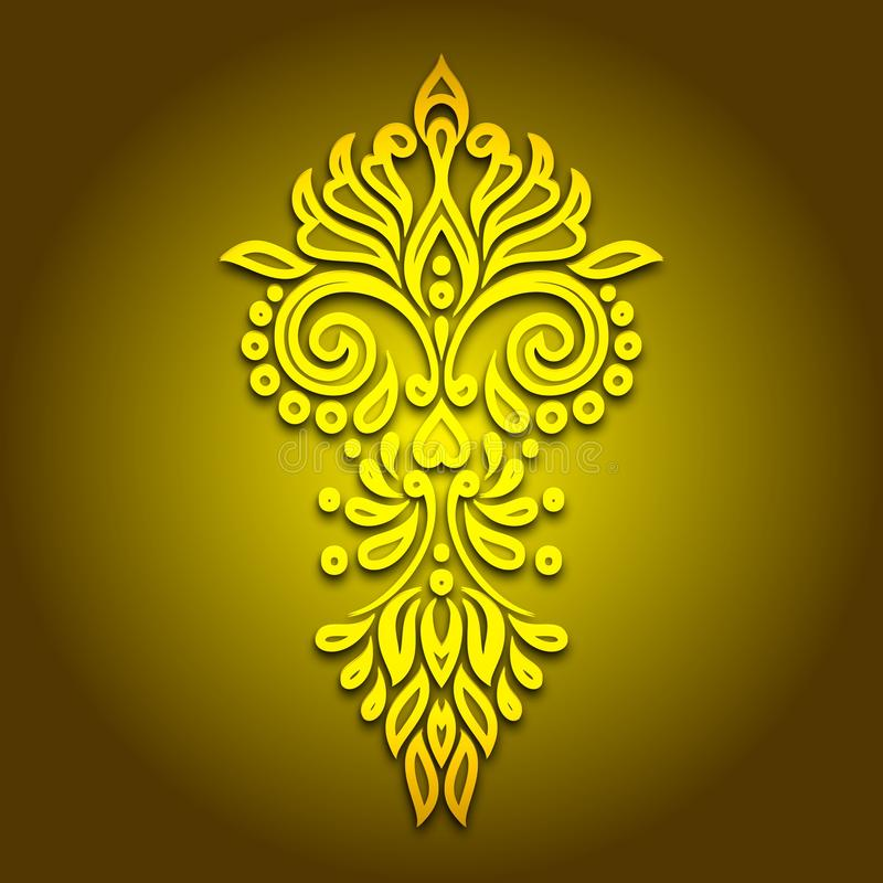 De uitstekende Achtergrond van de Centrum Gele Bloem royalty-vrije illustratie