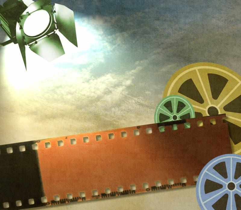 De uitstekende achtergrond van de filmstrook met spoelen en reflector stock afbeelding