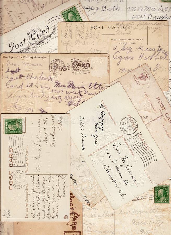 De uitstekende Achtergrond van het Assortiment van de Prentbriefkaar royalty-vrije stock foto's