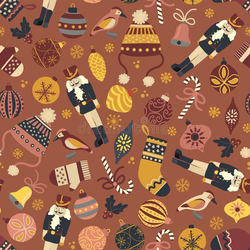 De uitstekende achtergrond van het Kerstmis naadloze vectorpatroon Notekraker, hoed, vuisthandschoenen, kous, suikergoedriet, vog vector illustratie