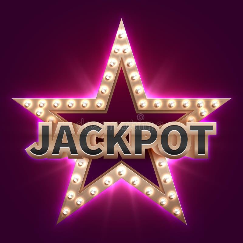 De uitstekende affiche van de casino megabonus met retro verlichte ster Showtime en pot vectorachtergrond vector illustratie