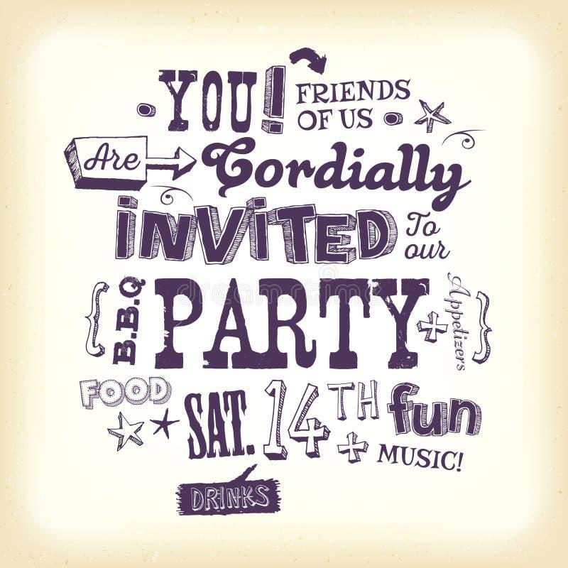 De uitstekende Affiche van de Partijuitnodiging met Hand het Van letters voorzien vector illustratie