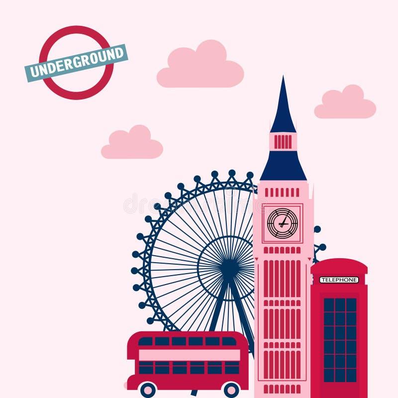 De uitstekende affiche van Londen vector illustratie