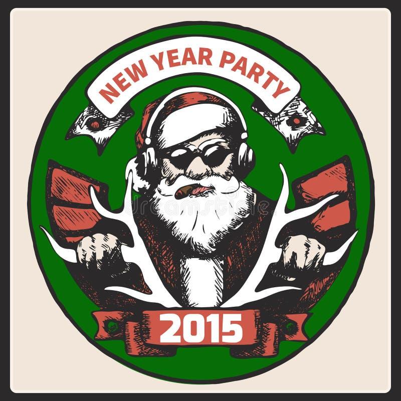 De uitstekende affiche van Santa Claus Vector royalty-vrije illustratie