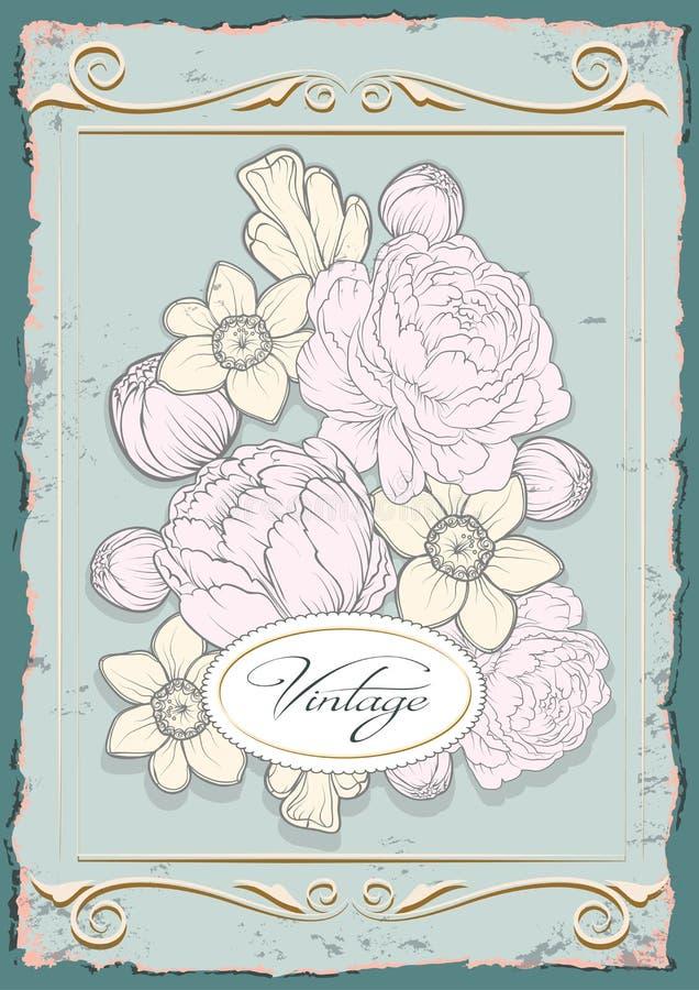 De uitstekende affiche van de tekeningenillustratie met bloemen stock afbeeldingen