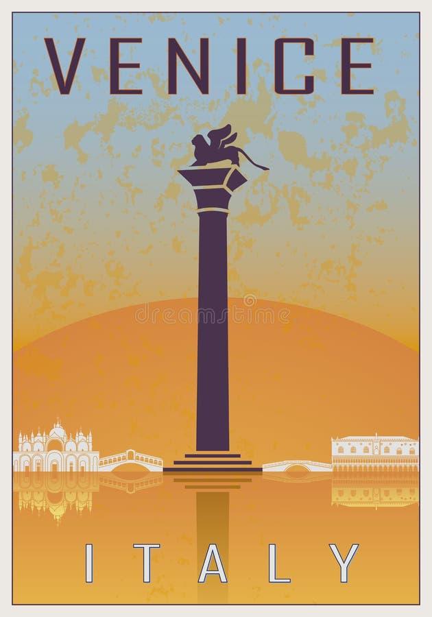 De uitstekende affiche van Venetië vector illustratie