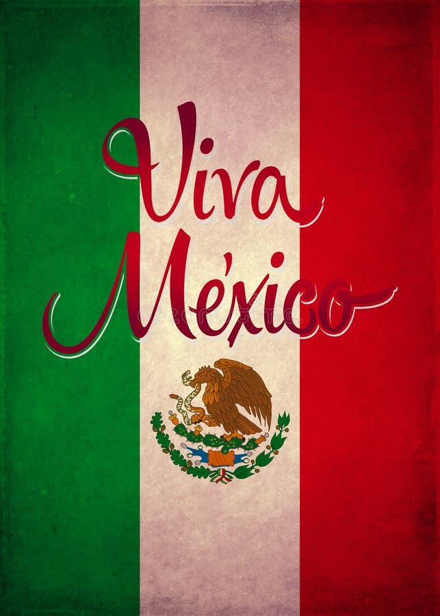 De uitstekende affiche van vivamexico - kaartmalplaatje vector illustratie