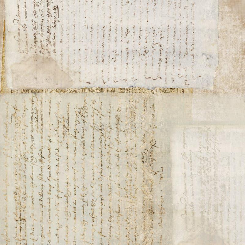 De uitstekende Antieke Achtergrond van het Document van de Tekst royalty-vrije stock foto's