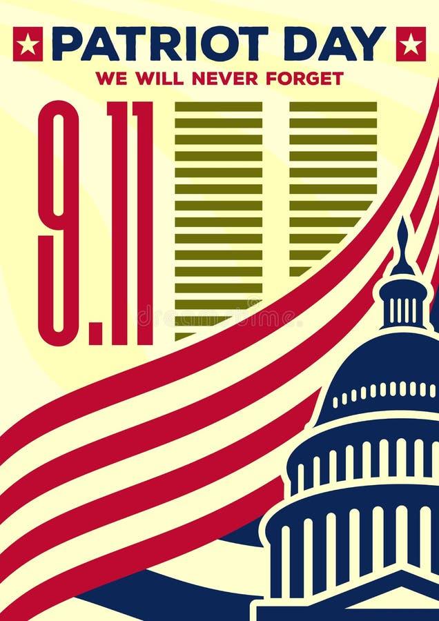De de uitstekende banner of affiche van de patriotdag Wij zullen 11 nooit September vergeten royalty-vrije illustratie