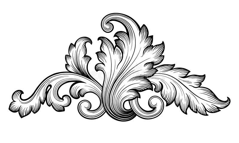 De uitstekende barokke bloemenvector van het rolornament royalty-vrije illustratie