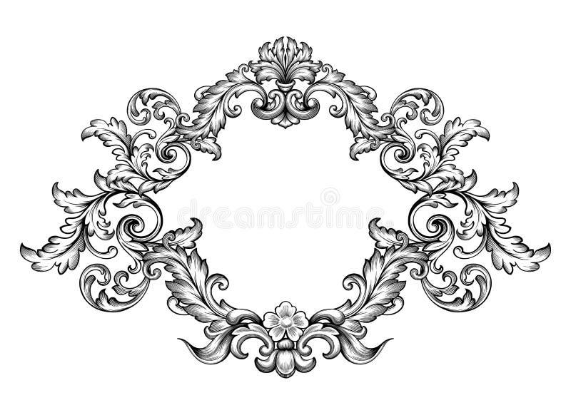 De uitstekende Barokke rol van het het Victoriaanse monogram bloemenornament van de kadergrens graveerde retro kalligrafische pat vector illustratie