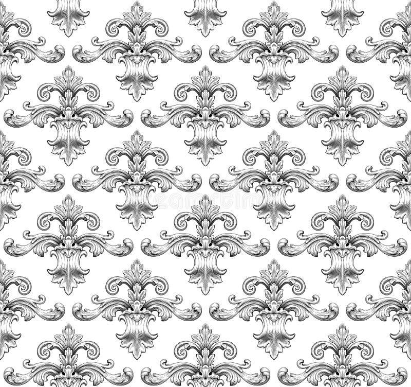 De uitstekende barokke vector van het damast naadloze patroon royalty-vrije illustratie