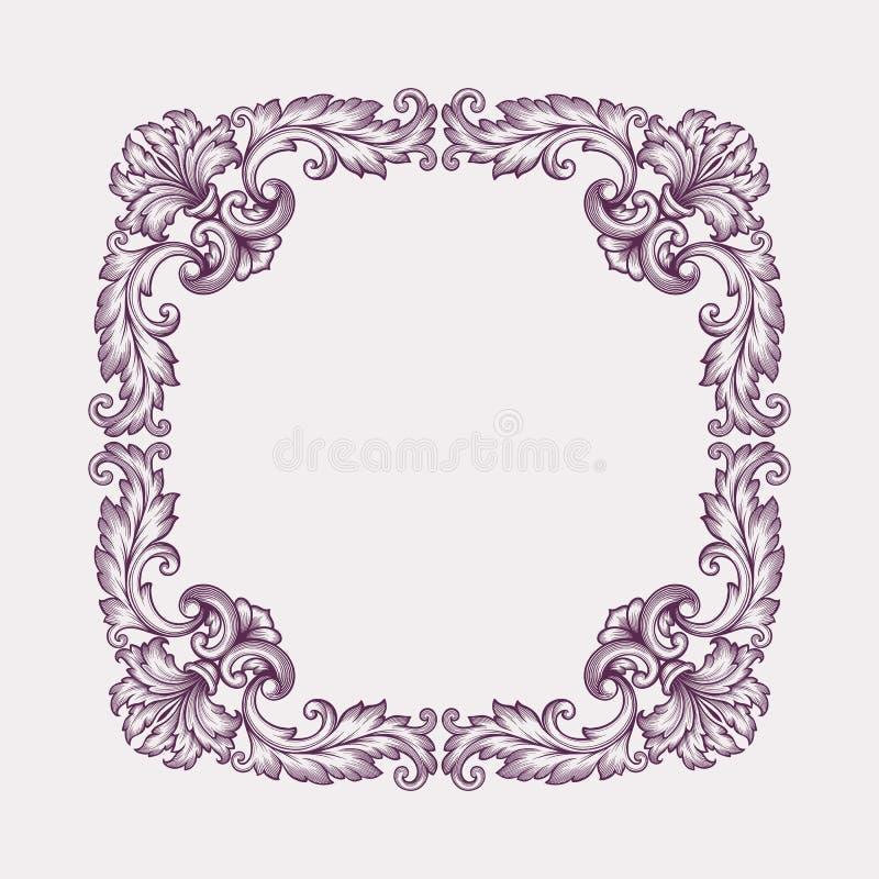de uitstekende Barokke vector van het de rolontwerp van de kadergrens royalty-vrije illustratie