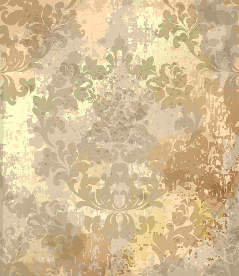 De uitstekende Barokke Vector van het textuurpatroon Het ornamentdecor van het luxebehang Textiel, stof, tegels Gouden kleur vector illustratie