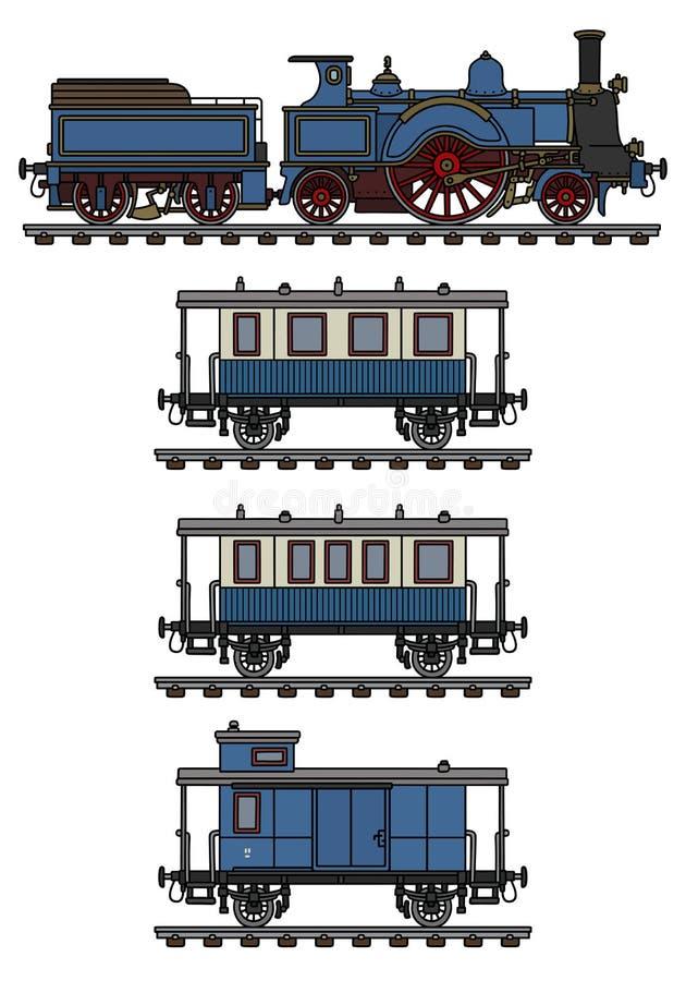 De uitstekende blauwe stoomtrein stock illustratie
