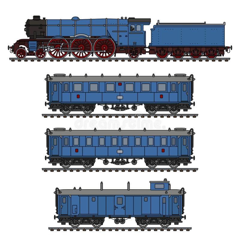 De uitstekende blauwe stoomtrein royalty-vrije illustratie