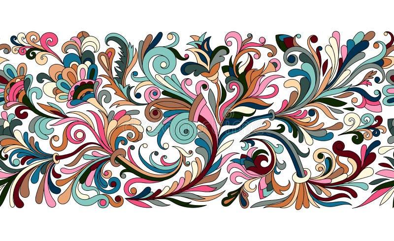 De uitstekende bloemen barokke naadloze grens met bloeiende magnolia's, nam en takjes, rozen vectorillustratie, bloem toe royalty-vrije illustratie