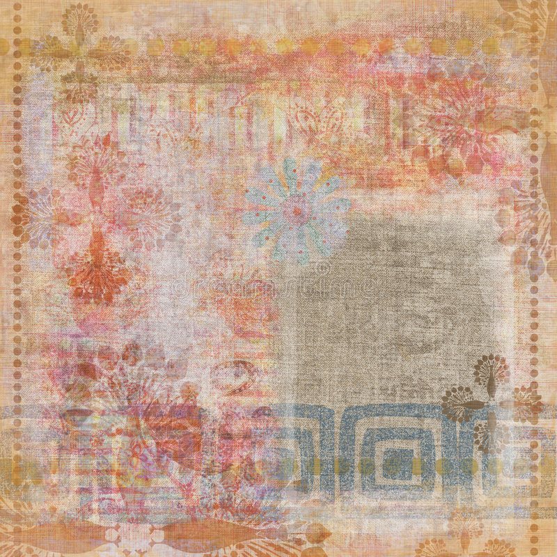 De uitstekende Bloemen Boheemse Achtergrond van het Plakboek van het Tapijtwerk Grunge royalty-vrije illustratie