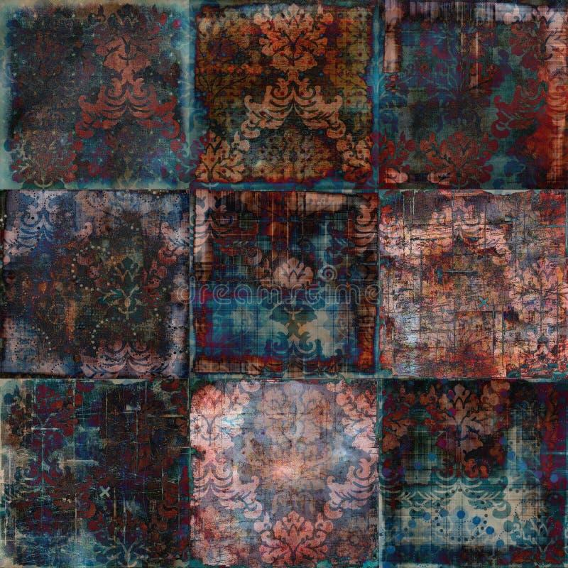 De uitstekende Bloemen Boheemse Achtergrond van het Plakboek van het Tapijtwerk Grunge stock fotografie