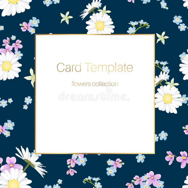 De uitstekende bloemen marineblauwe achtergrond van het kaartmalplaatje vector illustratie