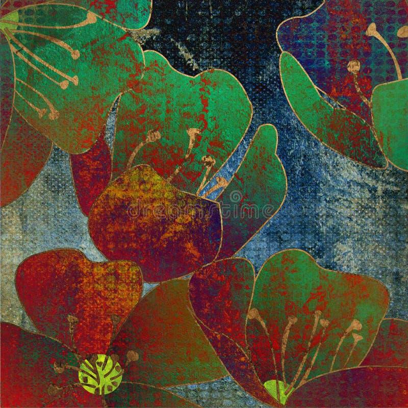 De uitstekende bloemenachtergrond van de kunst grunge stock illustratie