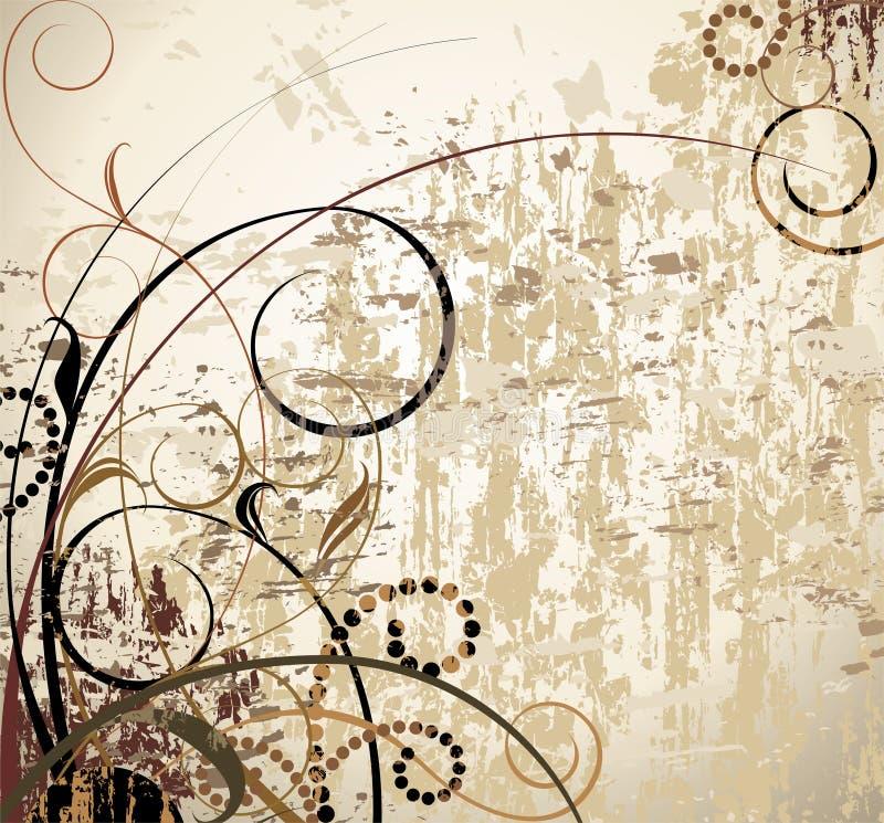 De uitstekende bloemenachtergrond van Grunge vector illustratie