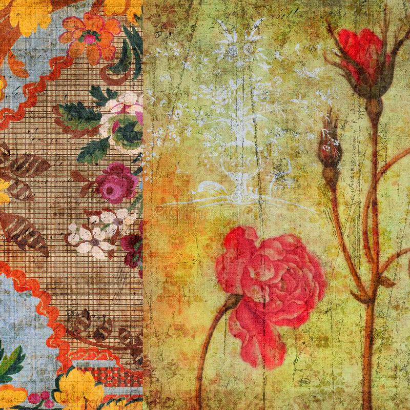 De uitstekende BloemenAchtergrond van het Plakboek Grunge stock afbeelding