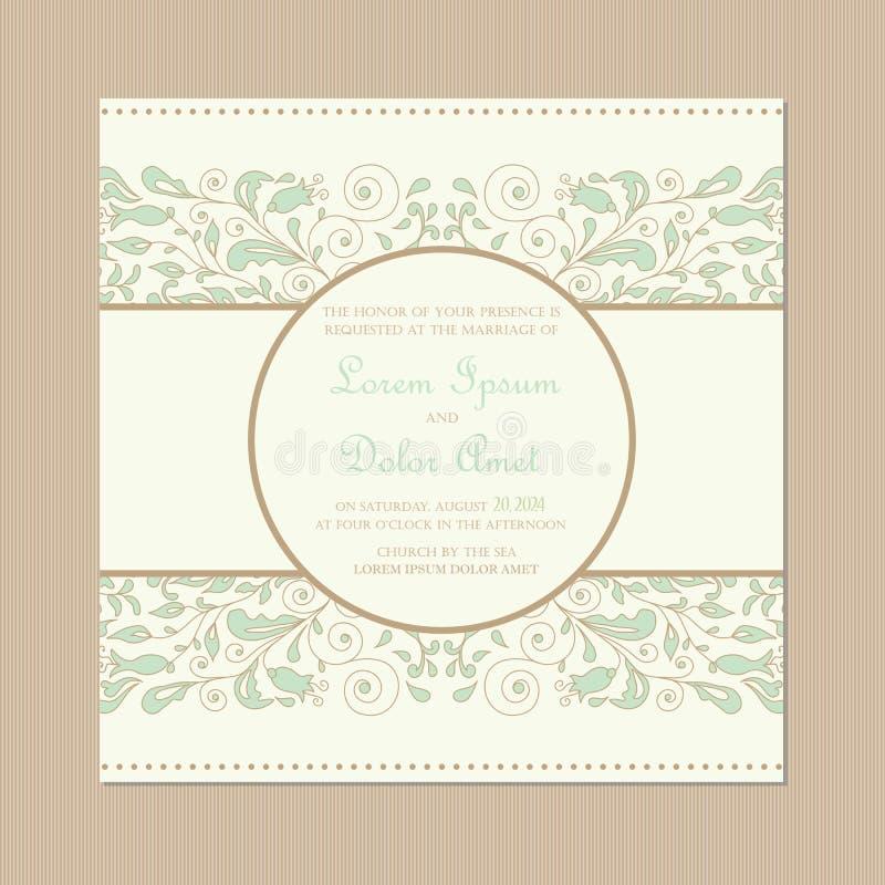 De uitstekende bloemenkaart van de huwelijksuitnodiging stock illustratie