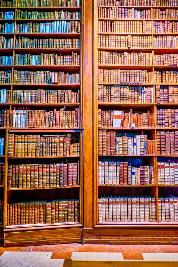 De uitstekende boekenrekken in Oostenrijkse Nationale Bibliotheek in Wenen royalty-vrije stock foto
