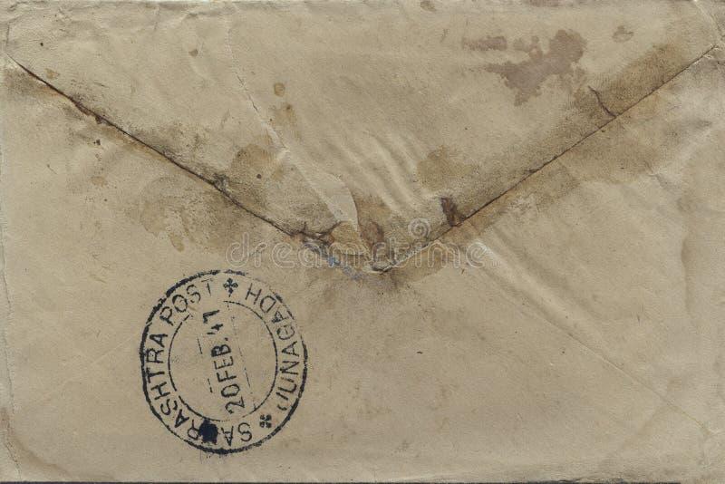 De uitstekende Britse manier van de raj 20-februari-1947 Indische prentbriefkaar van mededeling voor openbare SAURASHTRA POSTjuna stock afbeelding