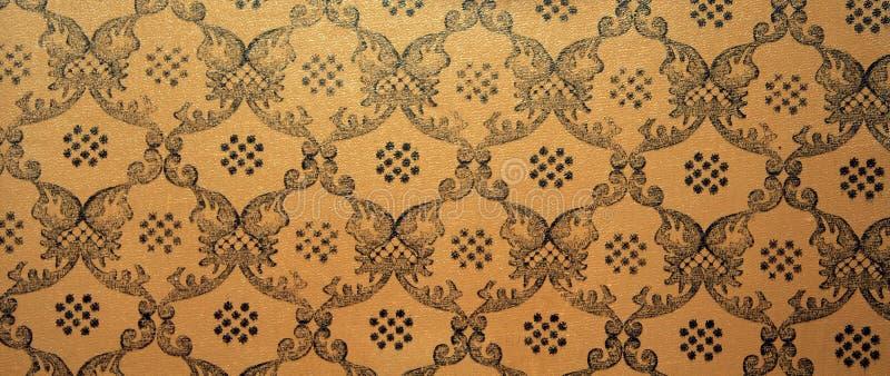 De uitstekende bruine achtergrond van het damast naadloze patroon stock foto's