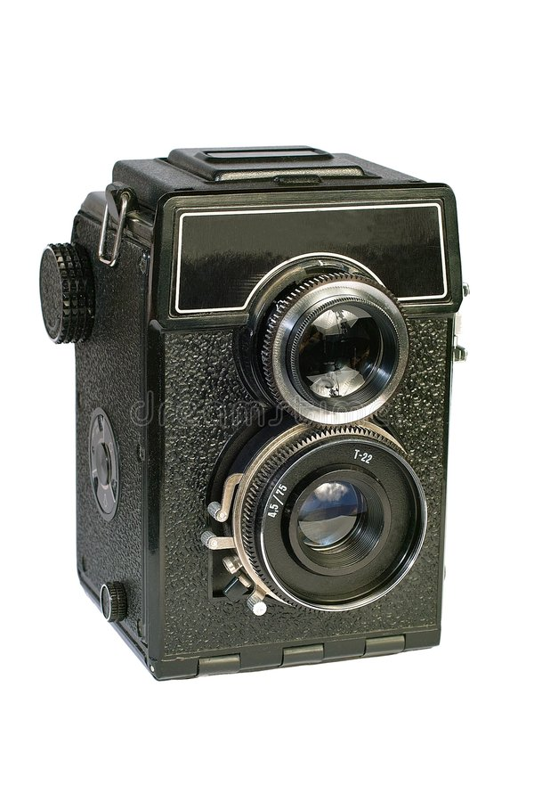 De uitstekende camera van het twee lens middelgrote formaat. stock afbeeldingen