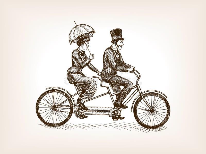 De uitstekende dame en herenvector van de fietsschets vector illustratie
