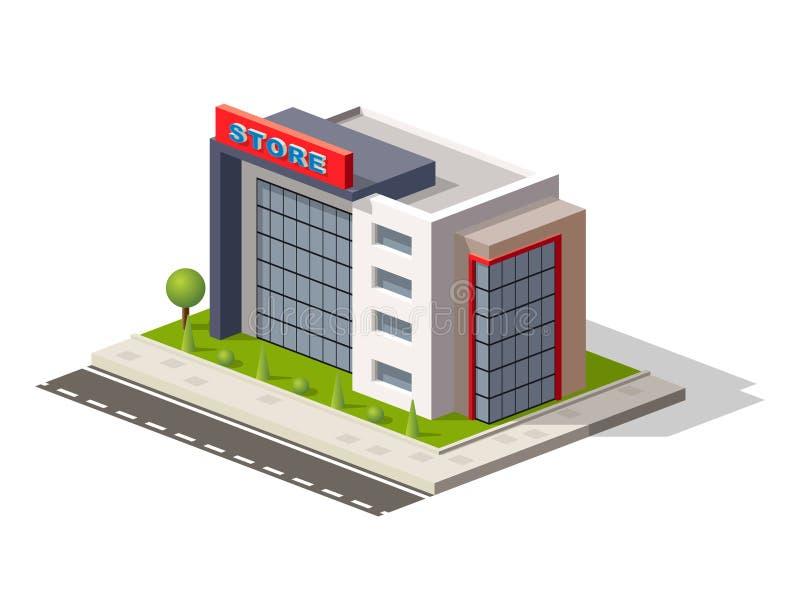 De uitstekende de straatmening van de marktopslag met de moderne isometrische pictogrammen van het supermarktwinkelcomplex plaats stock illustratie