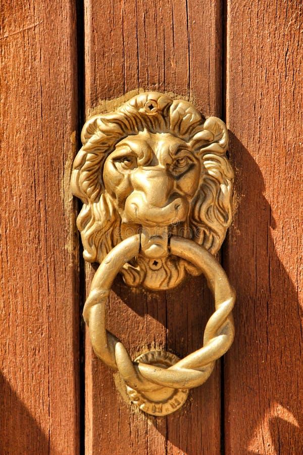 De uitstekende die leeuw van deurkloppers op bruine houten deur wordt gevormd royalty-vrije stock afbeeldingen