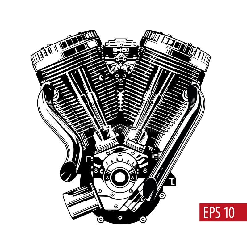 De uitstekende die motor van de douanemotorfiets op wit wordt geïsoleerd Zwart-wit vectorillustratie vector illustratie