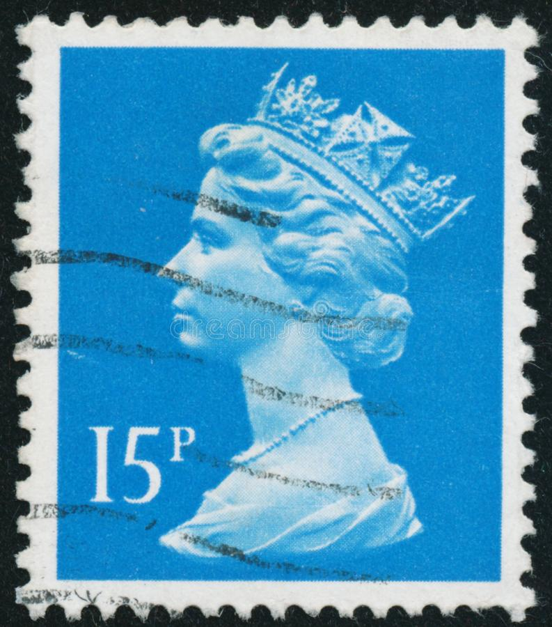De uitstekende die zegel in Groot-Brittannië 1989 wordt gedrukt toont Koningin Elizabeth II stock afbeeldingen