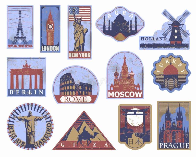 De uitstekende document etiketten van de oriëntatiepuntenreis Stickers van reis: Parijs vector illustratie